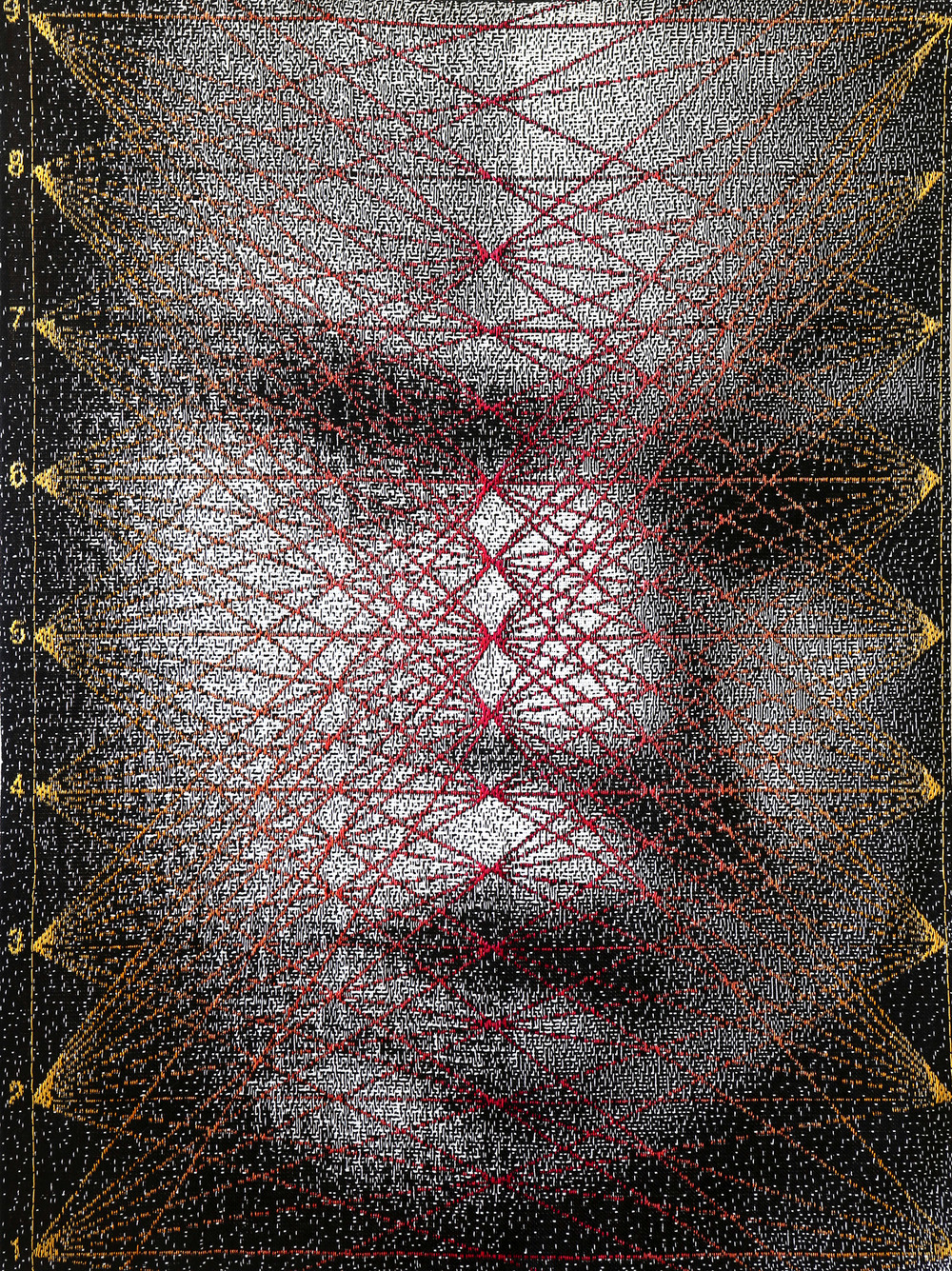 "Intensity Su Data Encore  2014 52"" x 40"" Cotton, rayon hand woven A behavioral study done within the exhibition space itself involving audience response to viewing a photographic face to a woven face. Data from the study is woven back into the face using data visualization of positivity ratings."