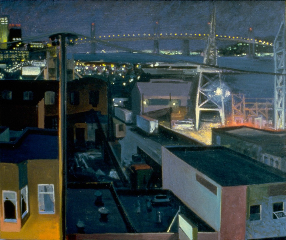 View from Studio —Night, 1984 Oil on canvas, 56 x 66 in.