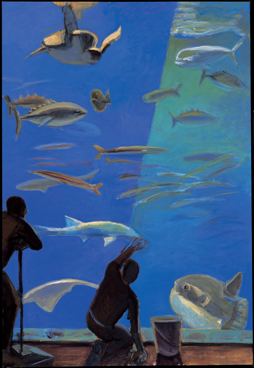 People Looking at Fish:  Outer Bay/Sunfish & Sea Turtle , 2002-05 Acrylic on panel, 80 x 54.5 in.