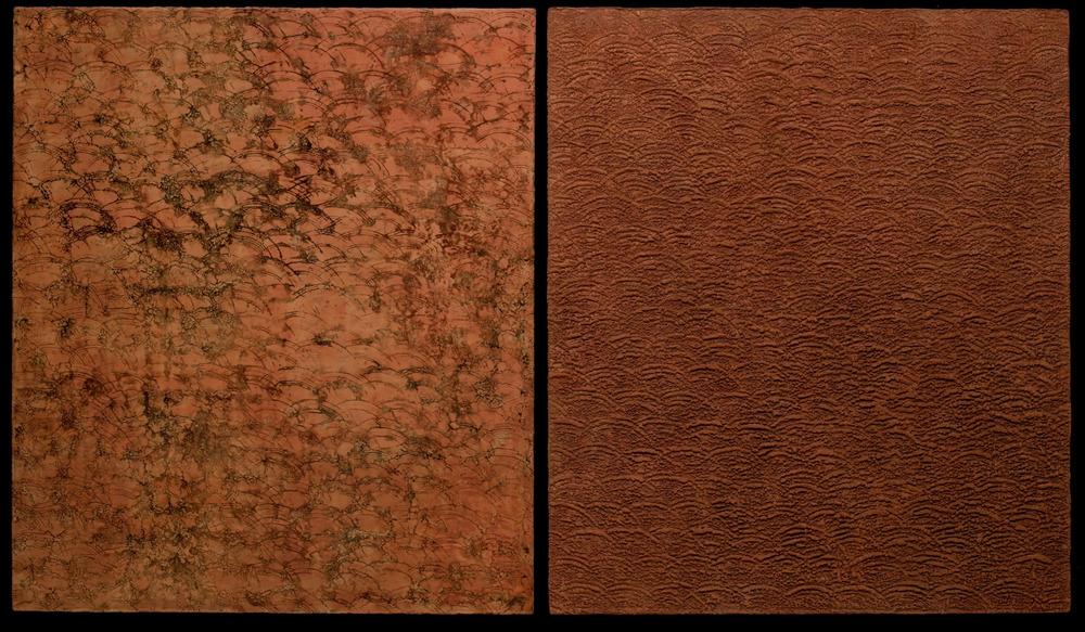 "Sedimentary Series, Sienna  (2007) Dyptich 44"" x 76"""