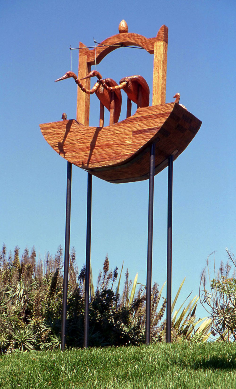 """Waterbirds,""           12' x 5'x 3'            Mahogany, steel, 2006"