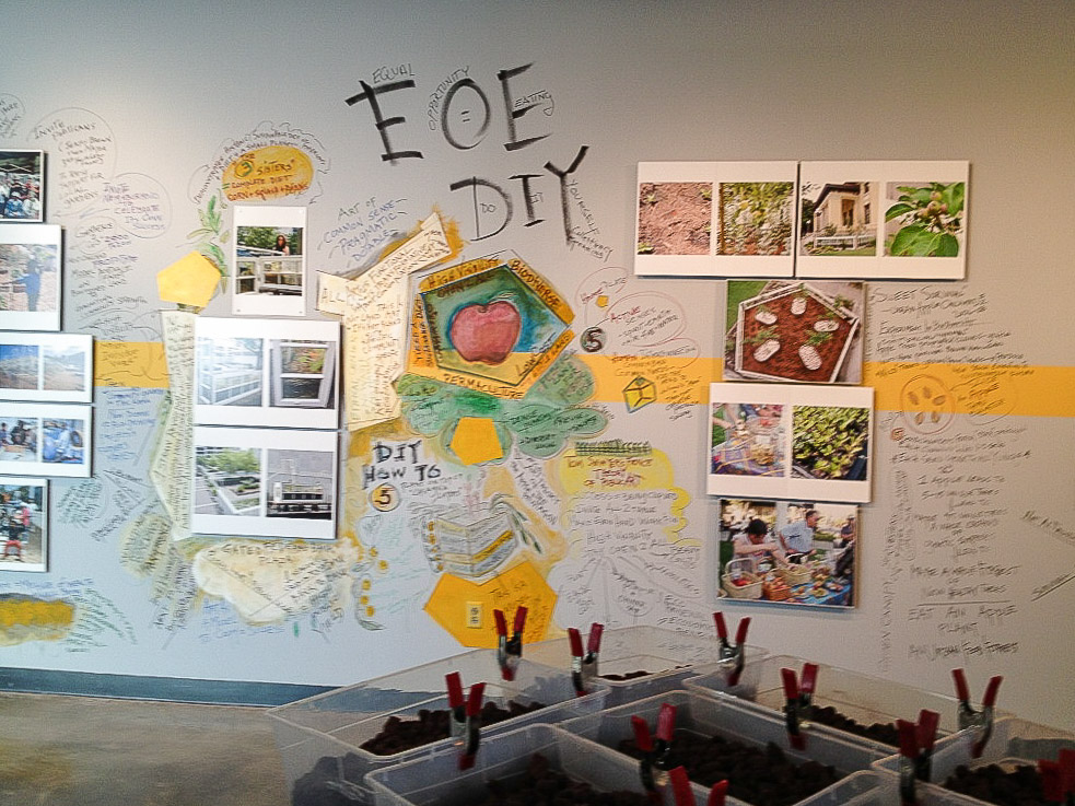 EOE (EQUAL OPPORTUNITY EATING).   2013. American University Museum, Washington D.C.  Detail of larger installation of improvisational wall painting, documentary photo diary, and floor sculptures. Discusses political, social and environmental issues of public projects 1990-2013.