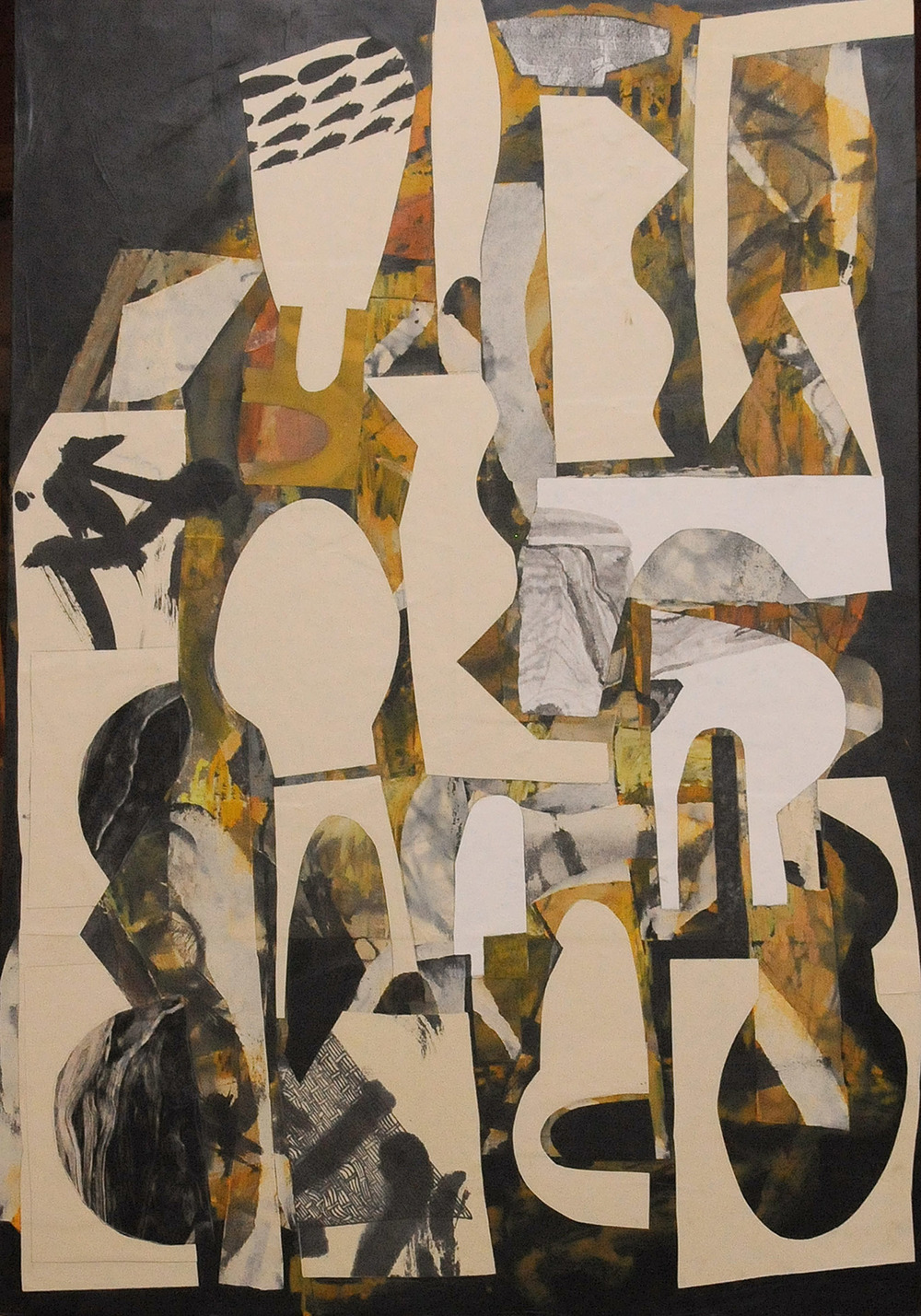 "9 5 2011 38"" x 26"" x 2"" Mixed media collage on birch panel  2011"