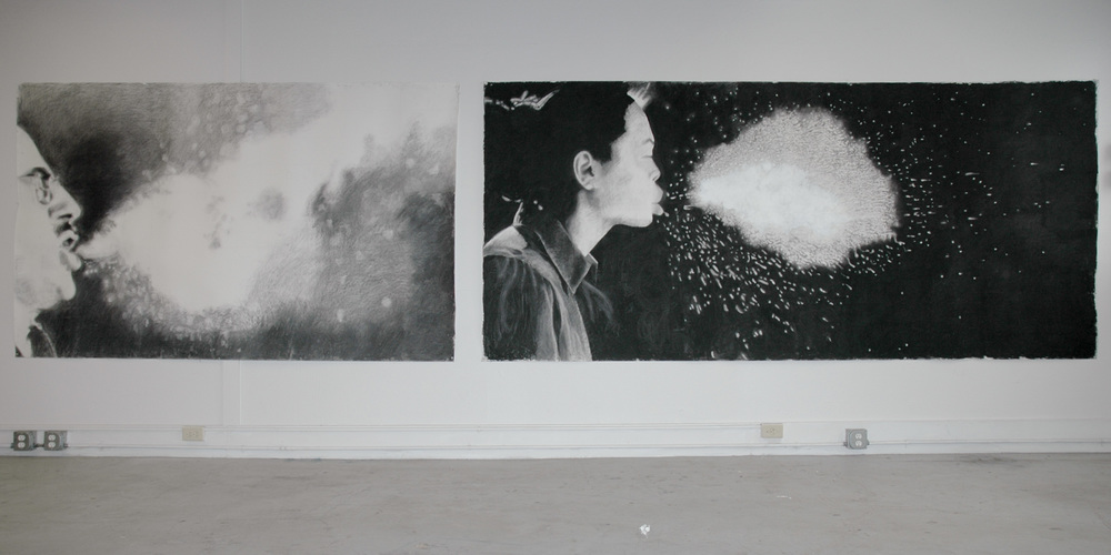 "Enemies Too Small to See # 1 and #3,  (partial installation view), charcoal on paper, 60"" x 192"", 2013-2015, (From a larger project of monumental drawings addressing environmental issues and the body, by looking at both the chemical toxins in all of our bodies and the drug resistant new viruses that we are creating. A detail of these drawings reveals the hundreds of chemicals that live within us.)"