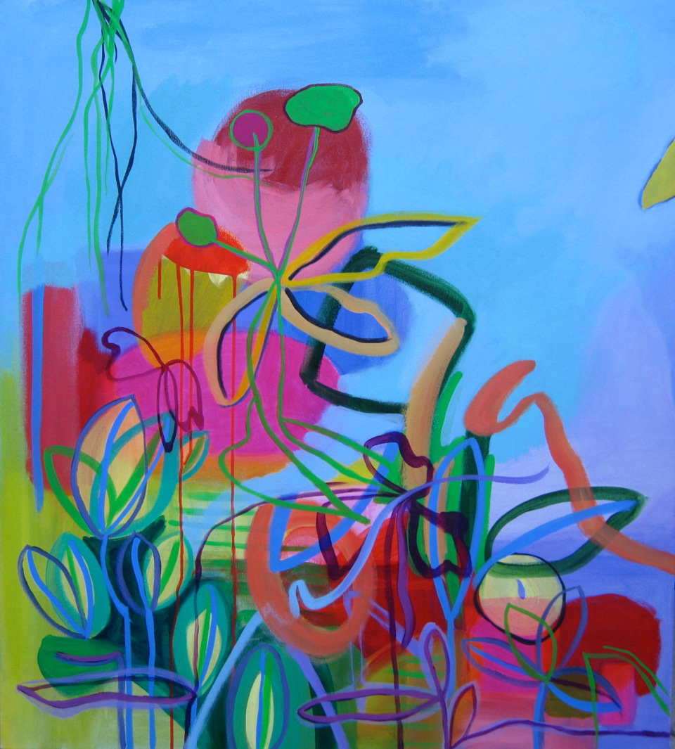 "Blue Garden, 2013, Acrylic and Flasche on canvas, 40"" x 36"""