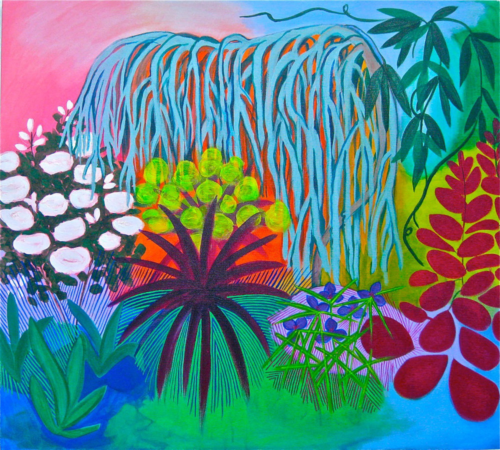 "Backyard Garden, 2014, Acrylic and Flasche on canvas, 40"" x 36"""
