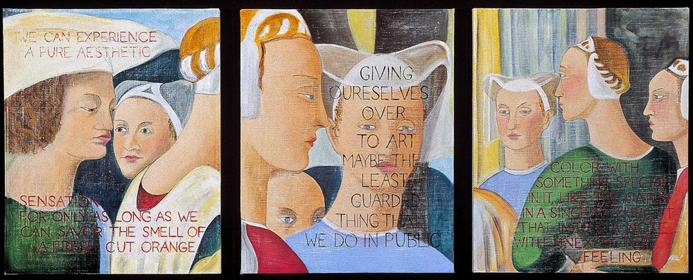 "Piero Della Francesca: Particolare , 2002, Acrylic on canvas, each panel 16"" x 20"""