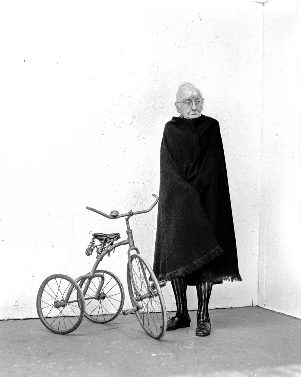 "Imogen Cunningham and Tricycle  silver gelatin print 14"" x 11"" Jeannie O'Connor © 1971"