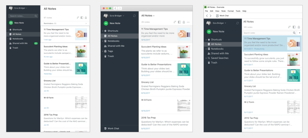 A cohesive navigation across all desktop clients: Web, Mac, and Windows