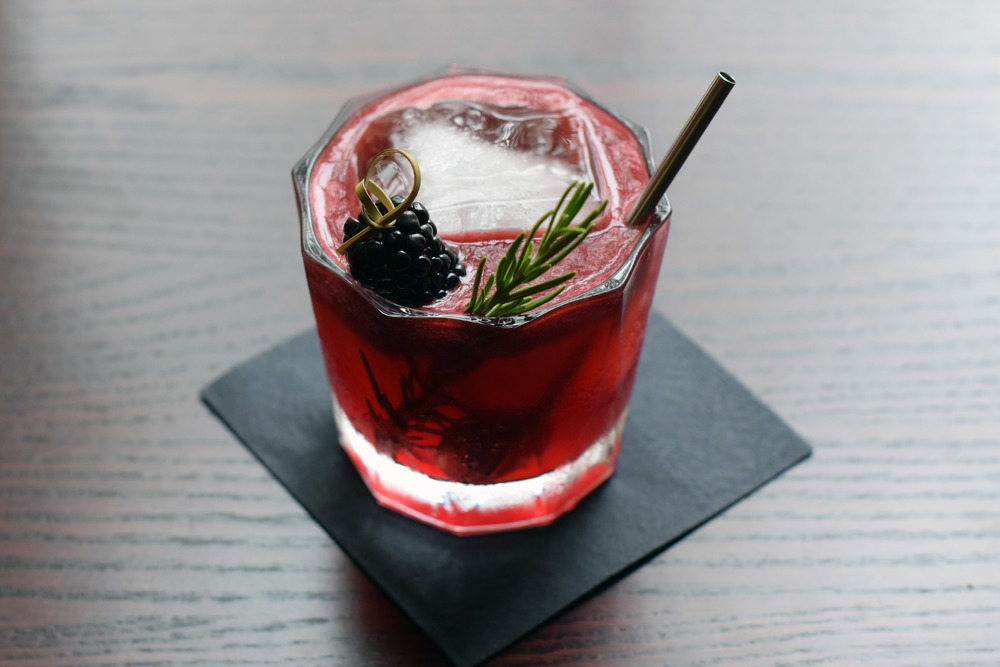 BOURBON SMASH wild turkey 101 bourbon, lemon, blackberry, rosemary