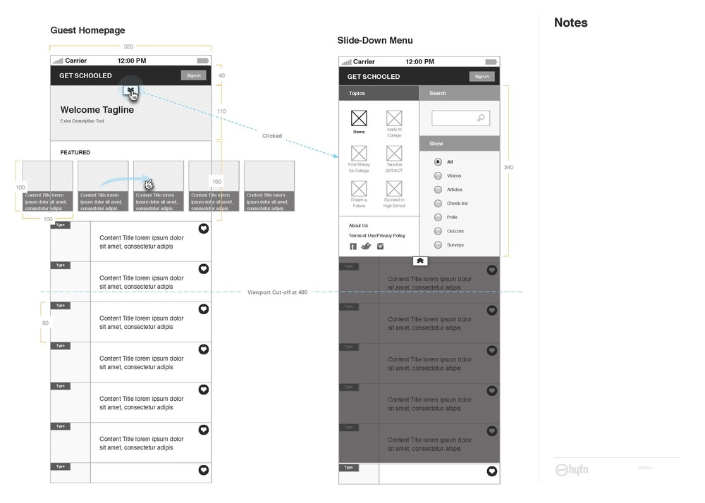 The guest view of the mobile homepage along with some technical dimensions