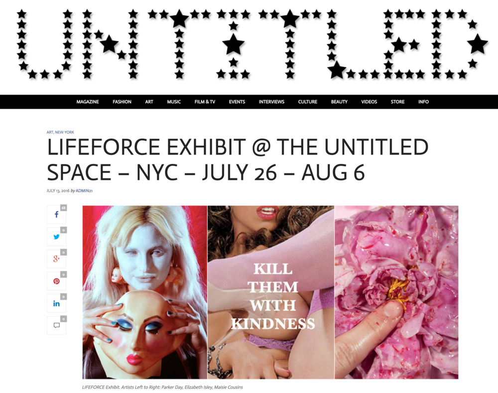 Sam Cannon featured in LIFEFORCE Exhibition at The Untited Space in NY