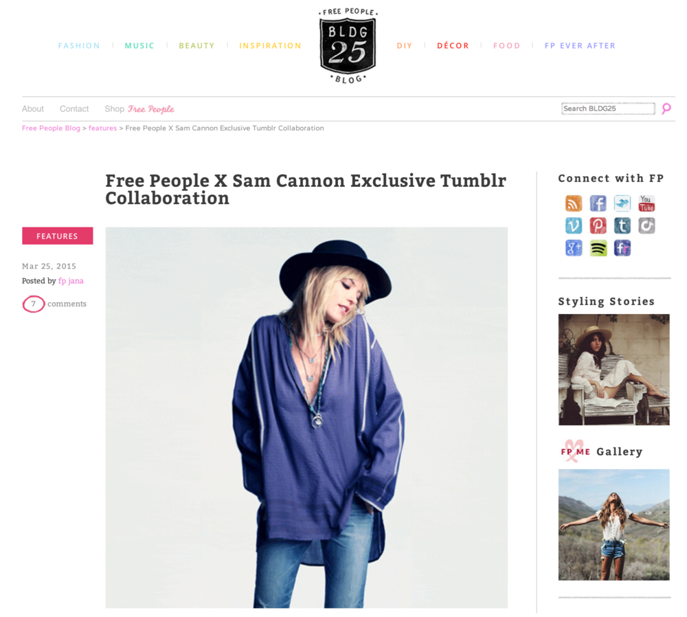 Collaboration with Free People featuring Martha Hunt