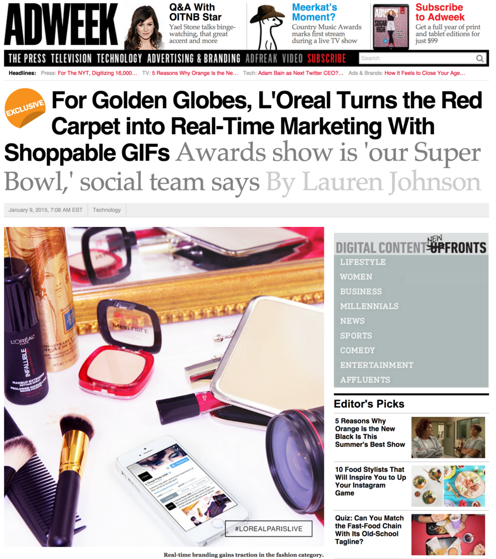 Work with L'Oreal Paris featured in AdWeek