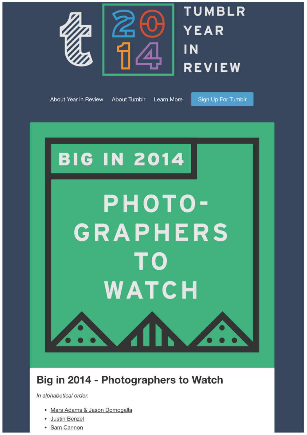 Sam Cannon named on of the top Photographers to Watch in 2014 by Tumblr