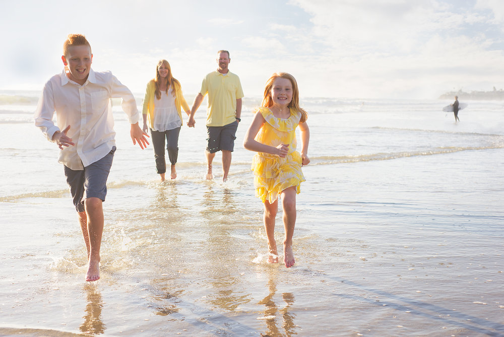 Family, San Diego, Yellow, Family of 4, running, Crystal Pier, Bare feet, Beach