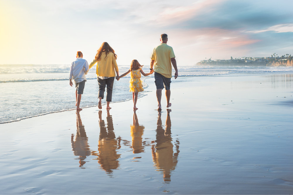 Family, San Diego, Yellow, Family of 4, walking, Crystal Pier, Bare feet, Beach