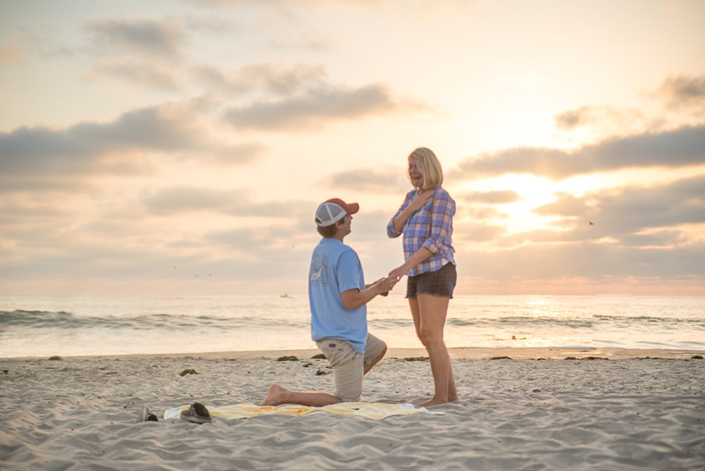 Surprise on the beach, San Diego, Engagement, Couples photography