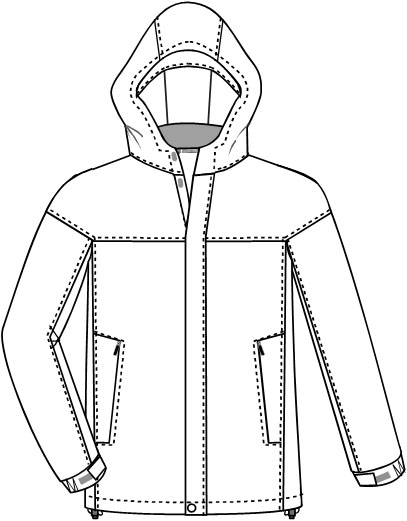 Line Drawing Jacket : Technical line drawing or clothing flat sketches