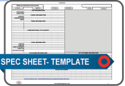 Excel Editable Specification Sheet Blank Template Clothier Design