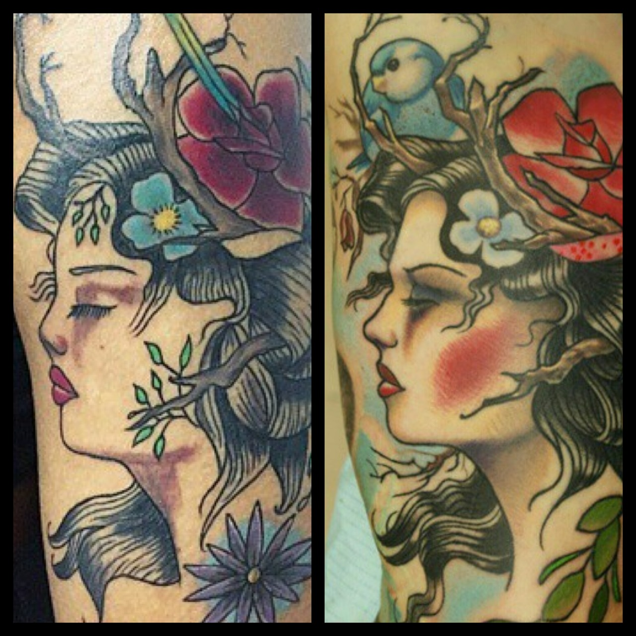 The first picture is a copy of a tattoo that I designed and tattooed 4 years ago. These are the kind of things that make me hesitate sharing custom tattoo pictures on the web. This person is stealing from my client who paid for custom artwork. Cheers.