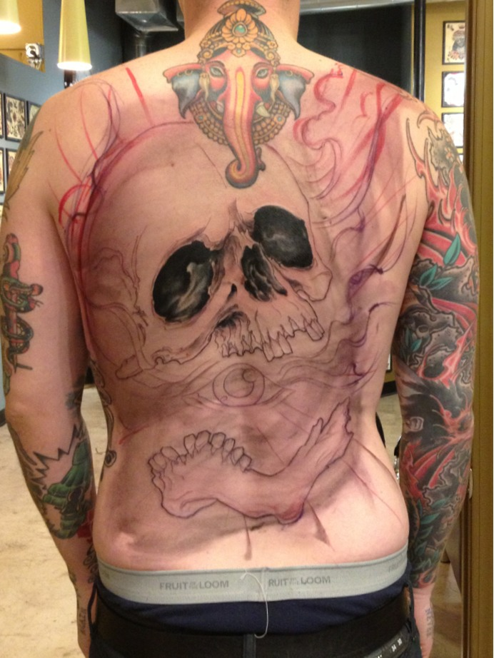 Freehand skull in progress.  Back skulls are always fun.
