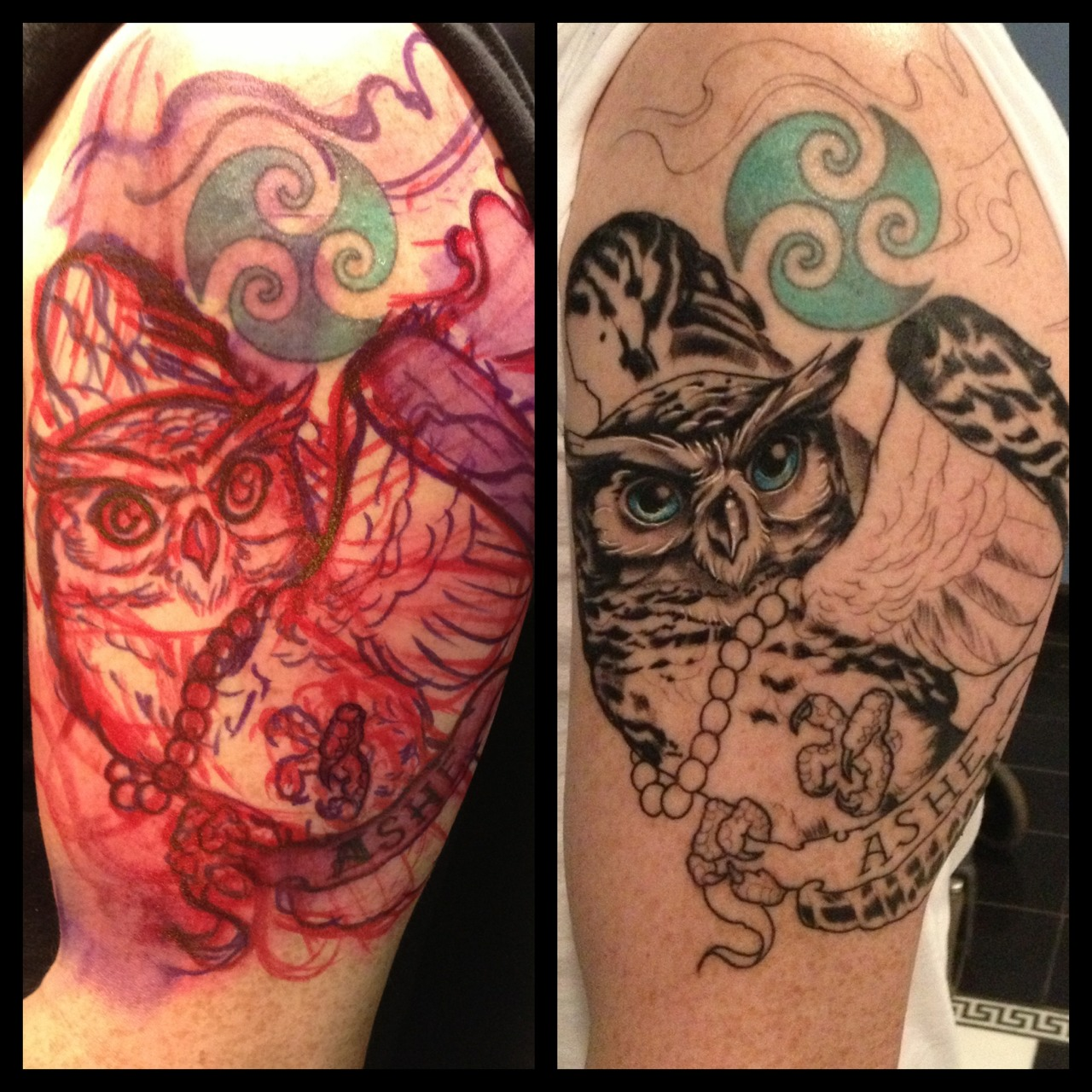 Freehand owl.  Marker sketch and the healed tattoo.  One more sitting will get this one finished up.
