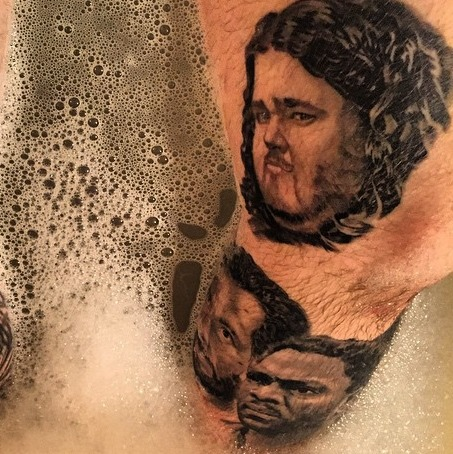 Always great to have pictures of my clients showing off their tattoos in the tub. These are all portraits from LOST.