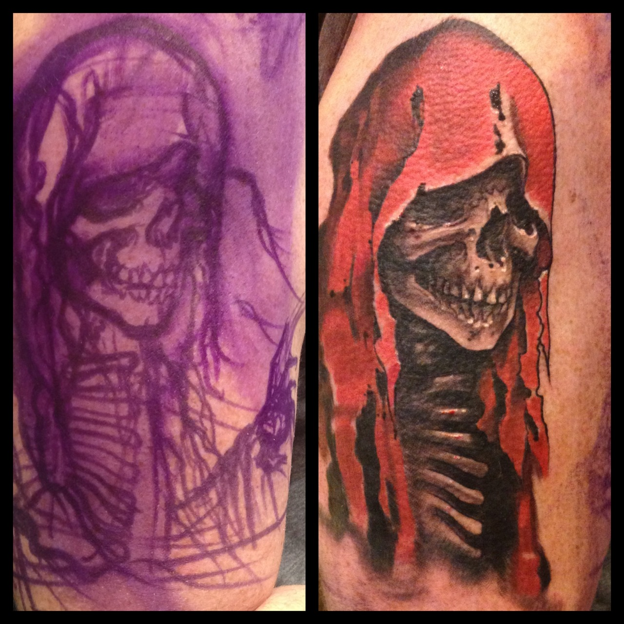 It is a good day when a walk in tattoo turns into an Edgar Allan Poe half sleeve.  We have a little more to add to this mask of the red death before we move on to a collage some other Poe stories.