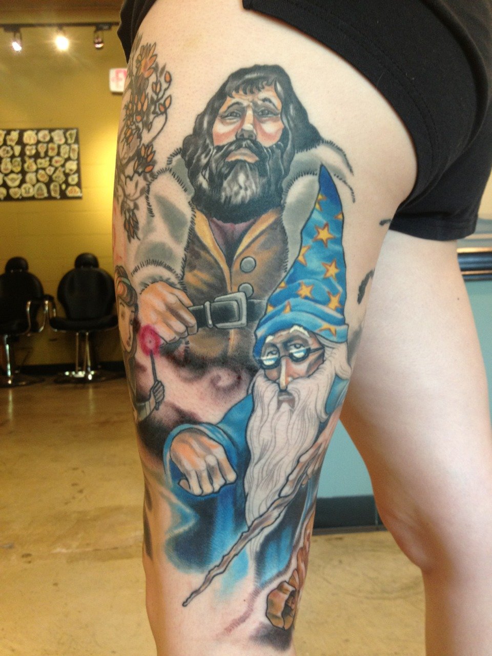 Filling in background on this story book style harry potter tattoo.