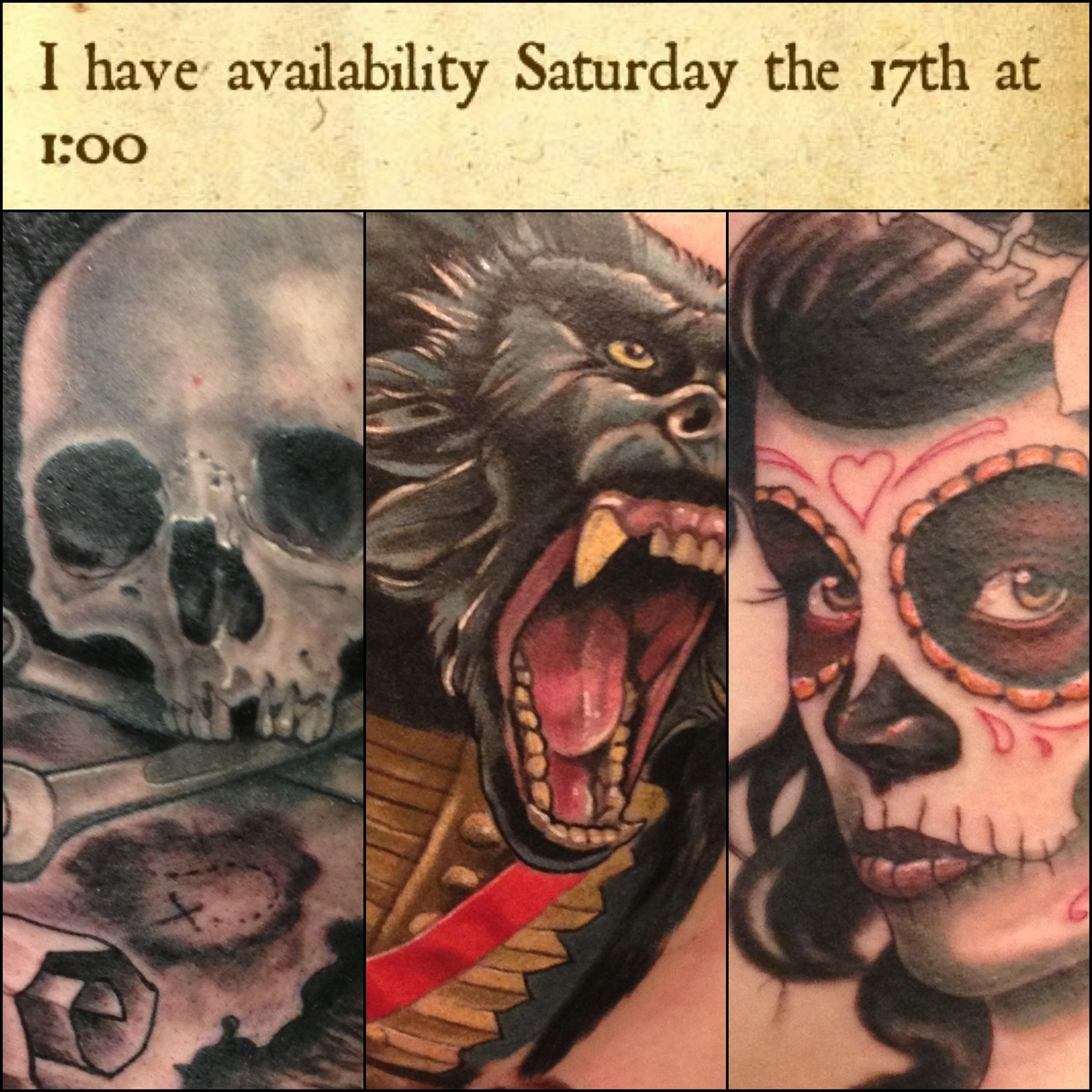 Weekend availability is limited.  I have one opening on Saturday the 17th.  Email Kurt.a.fagerland@gmail.com if you would like to get tattooed.