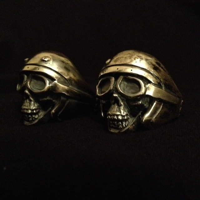 Just finished in time for christmas.  Father son motorcycle skull rings.   KurtFagerland.tumblr.com