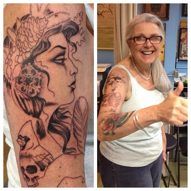 Jane is easily one of the most interesting people I know. Today she started her sleeve. Good times.
