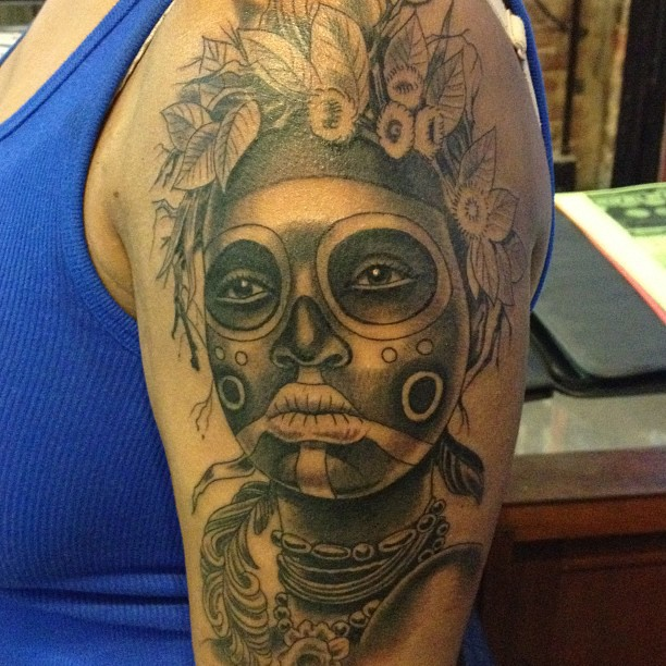 African themed sugar skull inspired pretty lady.