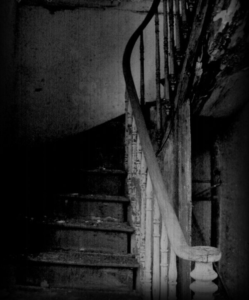 When I was in college I found an abandoned house in the woods near campus.. It had a staircase just like this.