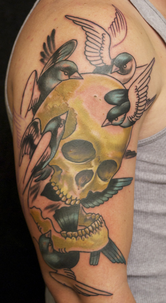 1st session.  Birds carrying a skull.
