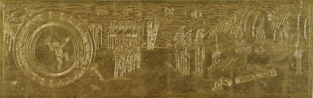 Ryan Presley Western Script2014. Poplar woodblock and gold leaf. 21.9 x 91.8cm. Image courtesy of Mick Richards