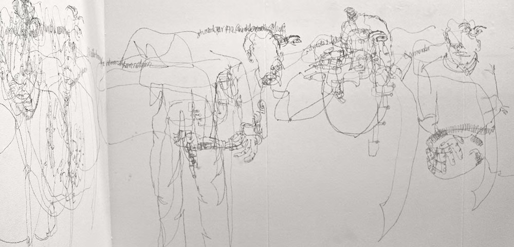 Sonya G. Peters Drawing Blind/Blind Drawing 2015 (detail), graphite on wall, Image courtesy of the artist.