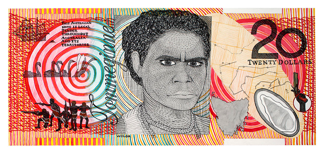 Ryan Presley  Twenty Dollar Note – Woloa Commemorative  2010 from the 'Blood Money' series. Watercolour on Arches paper. 40.2 x 88.5 cm