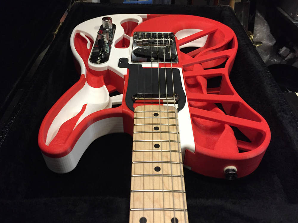 Adrian McCormack, a third year industrial design student at QCA on the Gold Coast produced this 3D-printed guitar