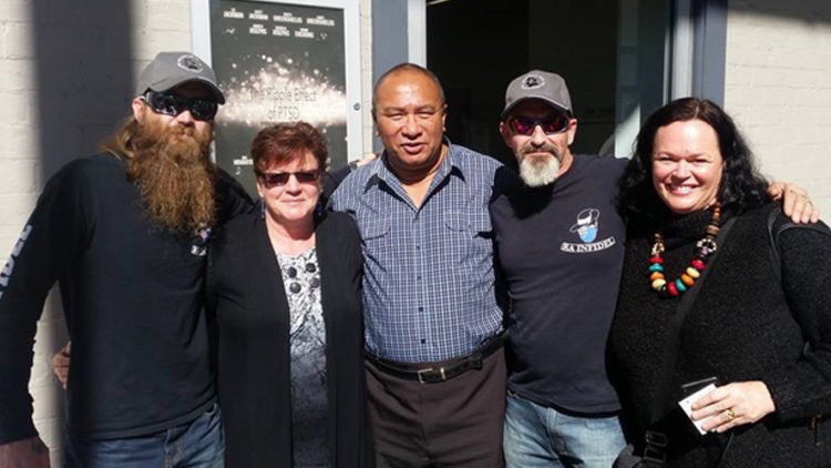 from left: Dylan Jefferies (veteran), Naomi Enchong, veterans John Enchong and Scott Jackman, Kym Melzer. Photo courtesy Naomi Enchong (with permission from all subjects)