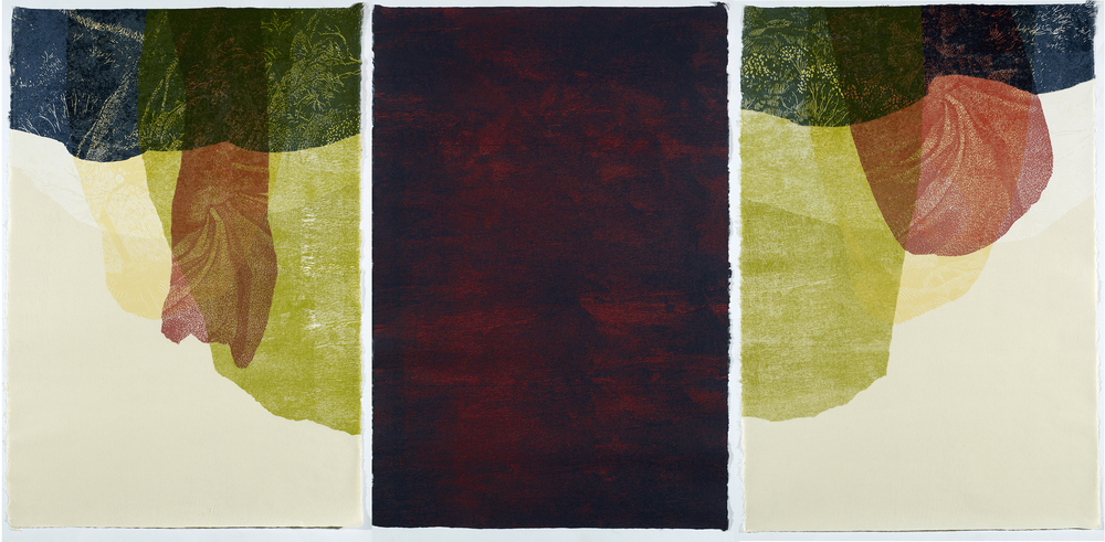 Tim Mosely, Three untitled prints made from the rainforest plywood, 2012–2014, 99x70cm.