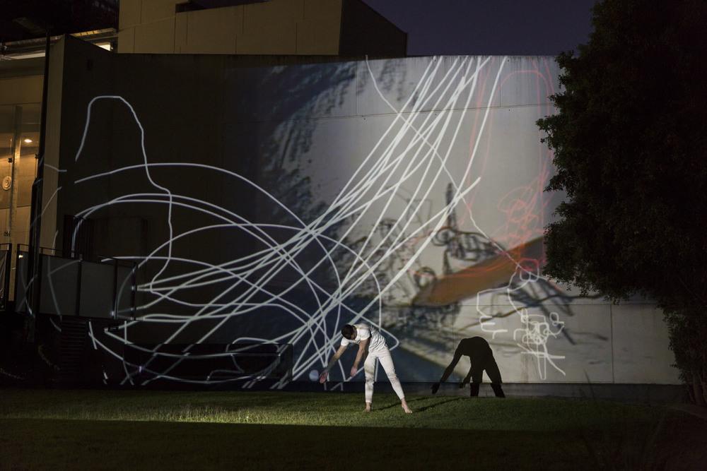Flatline + Kellie O'Dempsey    Bomb the Wall  2015. Performance at Queensland College of Art, Brisbane, Australia.