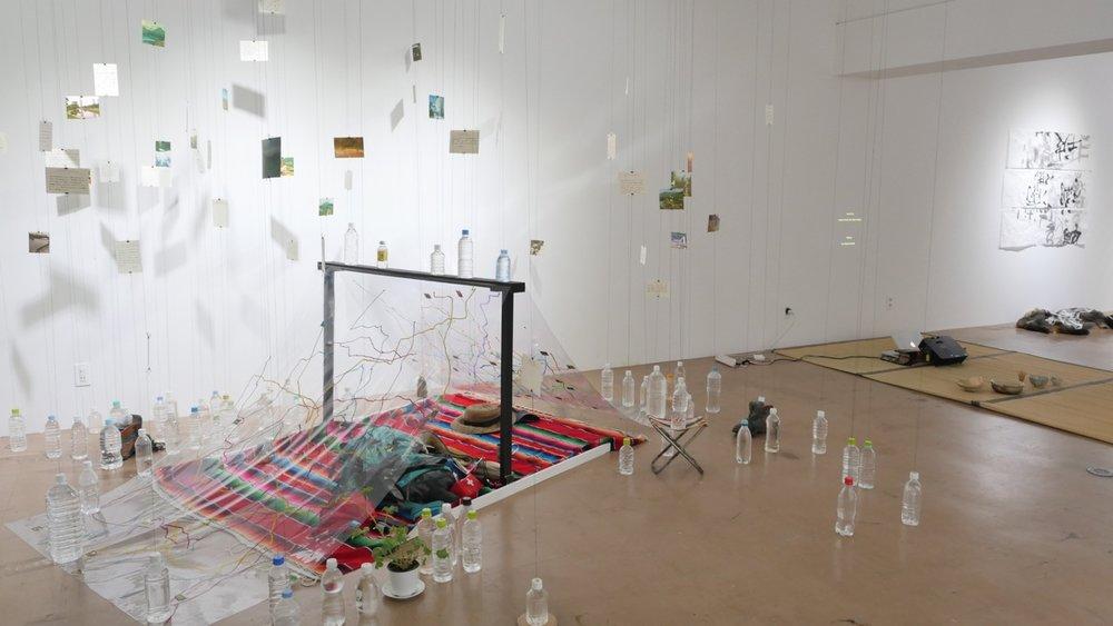 Installation shot of final exhibition Drawing Water at 3331 Arts Chiyoda Nishikicho Gallery.