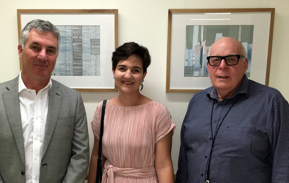 Professor Derrick Cherrie, Ali Bezer and Dr Philip Hall at the exhibition opening on 6 October