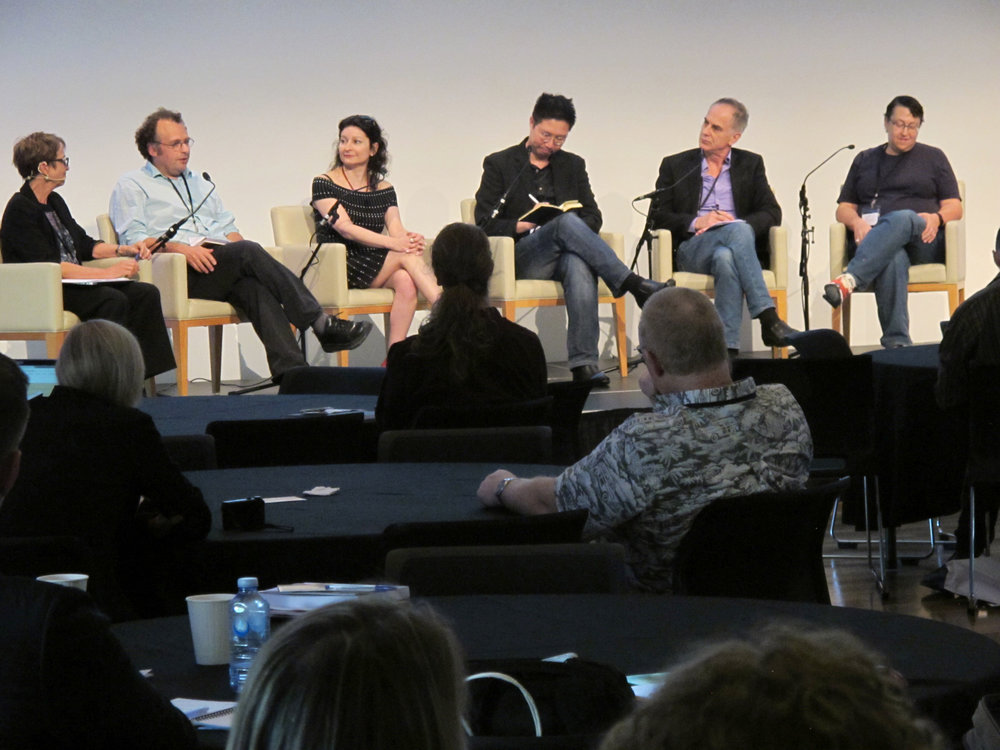 Panel Members (l to r): Catherine Beavis (Deakin University), Jon Weinbren (National Film and Television School, UK), Sara de Freitas (Murdoch University), Victor Lim Fei (Ministry of Education, Singapore), Ben Schouten (Eindhoven University of Technology, The Netherlands), Tracy Fullerton (University of Southern California)