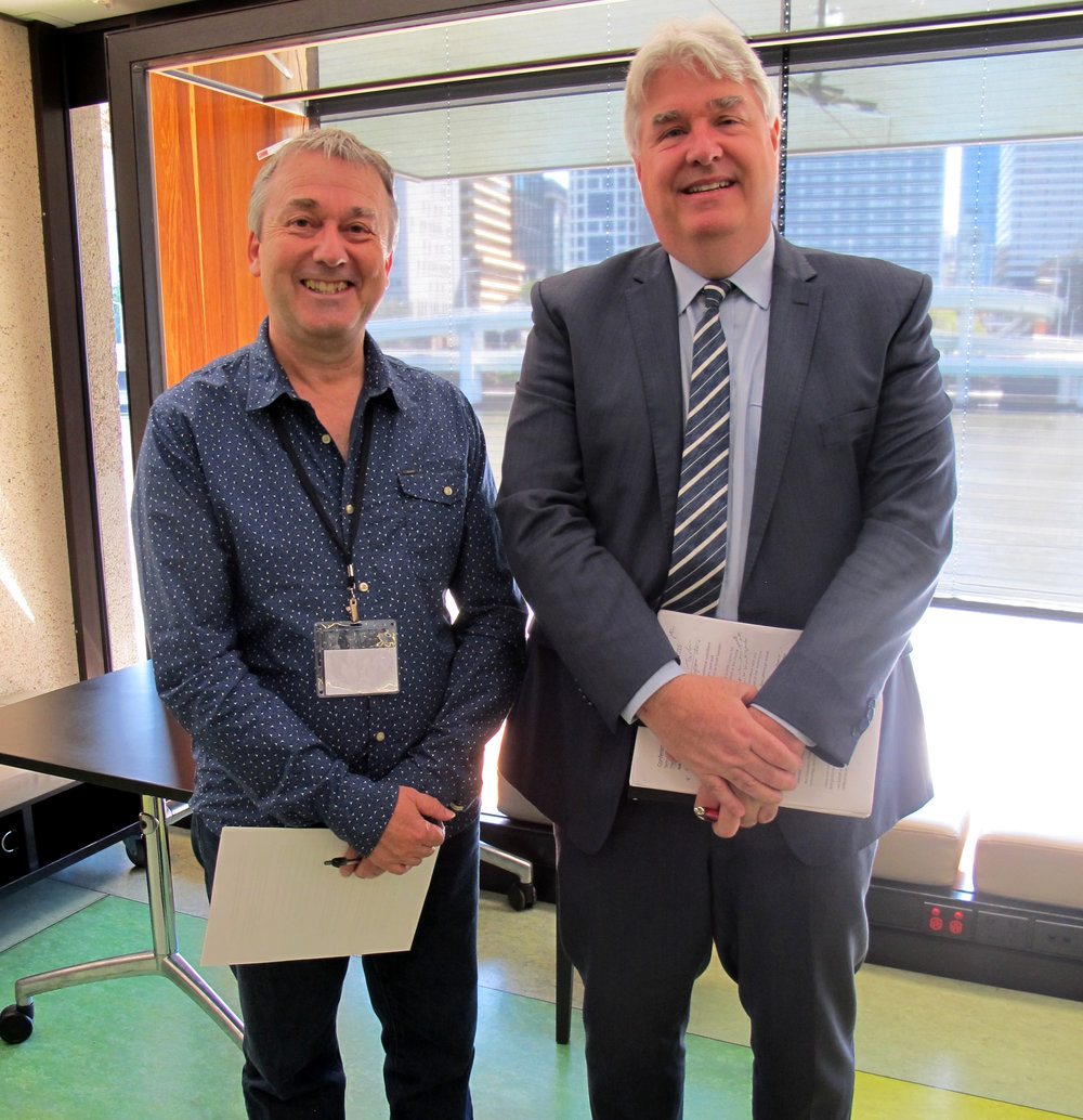 Conference convenor Dr Tim Marsh with AEL Pro Vice Chancellor Professor Paul Mazerolle who opened the event