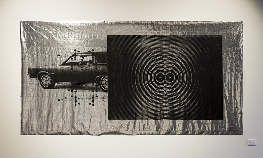 Blair Coffey  Pulse  2016. Screen-print on foil insulation. 135 x 273 cm.