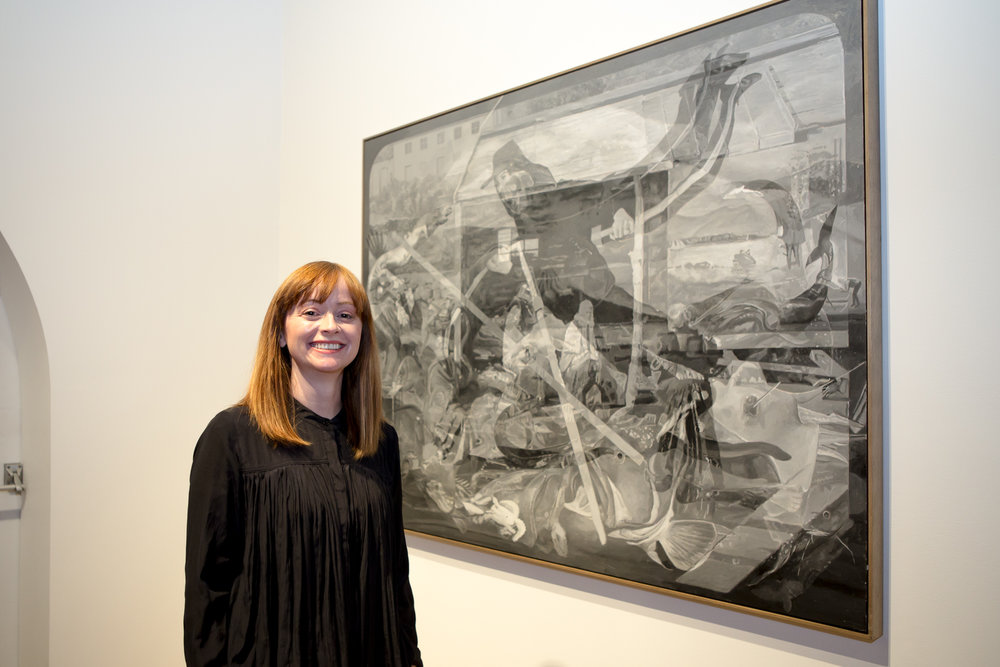 Tidal 2016 recipient Julie Fragar with her work, Antonio Departs Flores on the Whaling Tide, 2016, oil on board.