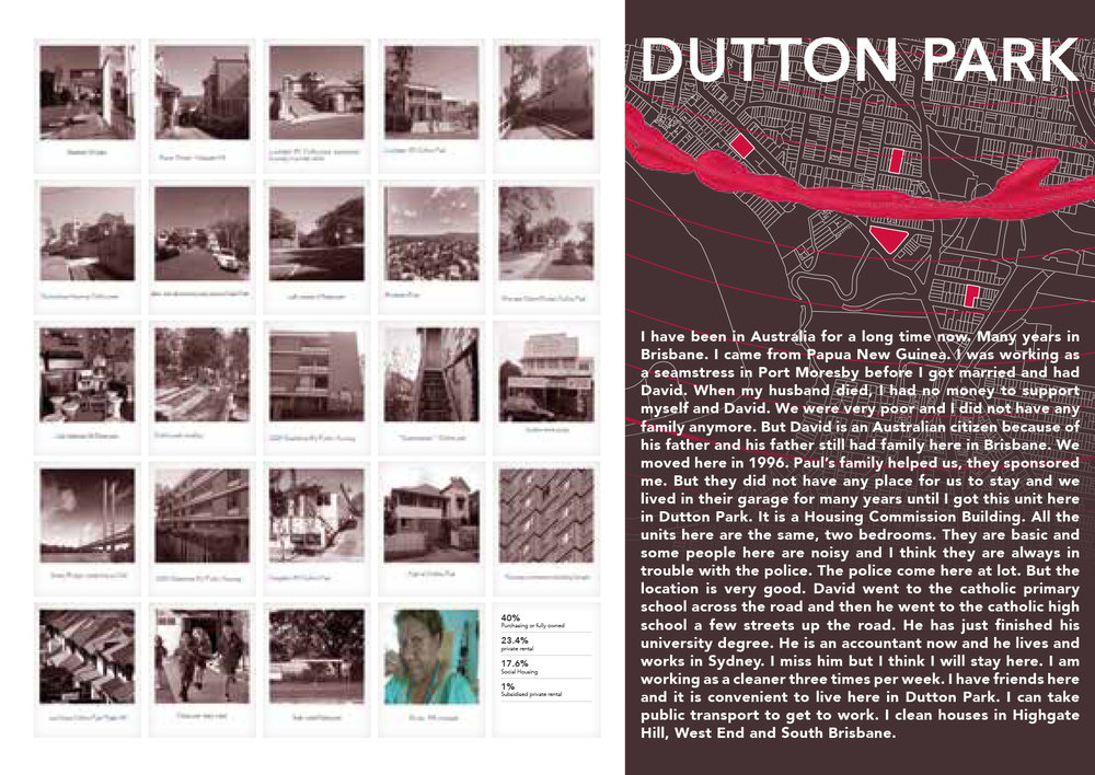 Petra Perolini  Social exclusion Dutton Park — mapping of social exclusion, public housing and interview , 2014, digitial print, 850 x 600mm